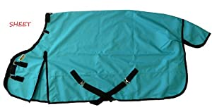 1200D Waterproof Horse Rain Sheet Fully Lined Turquoise, 70