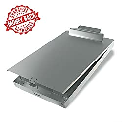 SteelClip #1 Aluminum Storage Clipboard - HIGHEST QUALITY for every day use - Aluminum Forms Holder with Top Hinged Opening and Self-Locking Latch