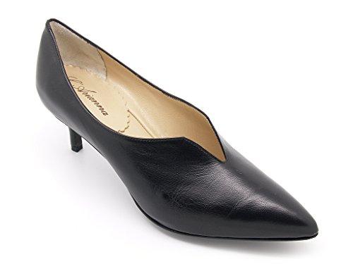 L'Arianna scarpe donna punta sfilata, tomaia pelle nera, fodera pelle, suola cuoio con isola gomma (EU 39)