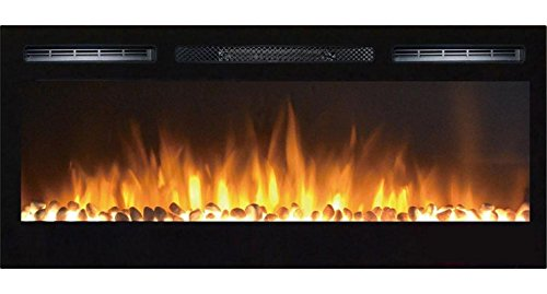 Gibson Living GL2036WS Madison 36 Inch Pebbles Recessed Fold up Mounted Electric Fireplace