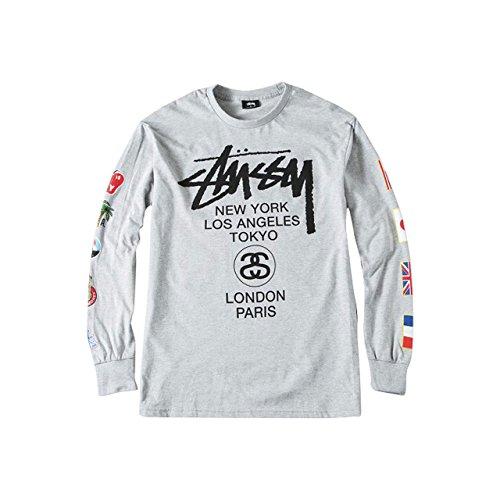 (ステューシー) STUSSY L/S WT Flags Tee 1993693 Lサイズ グレー ステューシー ロンT ワールドツアー フラッグ Tシャツ 長袖 メンズ [並行輸入品]