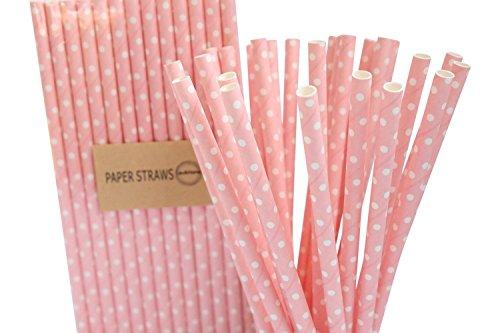 Confezione da 25 rosa chiaro & bianco cannucce di carta retrò per compleanno festa di nozze decorazione