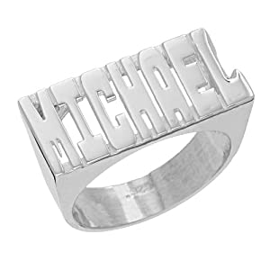 amazoncom sns133 personalized sterling silver large With block letter name ring