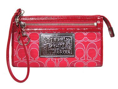 Coach 44056 Signature Zippy Wristlet Wallet Purse Red