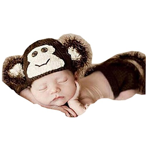 Pinbo Baby Photography Prop Crochet Knitted Animal Monkey Hat Diaper Shorts