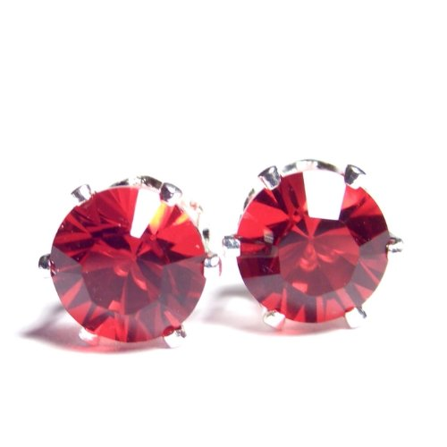 Large 925 Sterling Silver Stud Earrings set with Sparkling Siam Red Swarovski Crystal. Gift Box. Beautiful jewellery for very special people.