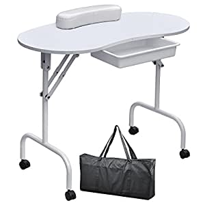 Yaheetech portable foldable manicure table for Folding nail technician table