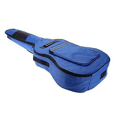"""SODIAL(R)41"""" Guitar Backpack Shoulder Straps Pockets 5mm Cotton Padded Gig Bag Case blue"""