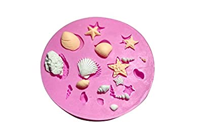 Wocuz MK582 Silicone Mini Shell Starfish Shapes Fondant Mold Candy Making Mold Cake Decoration Gum Mould