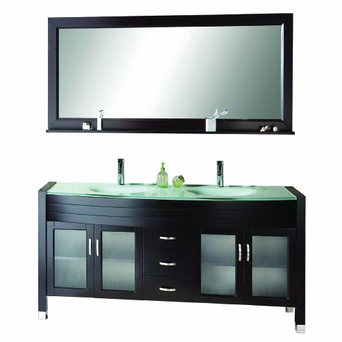 Virtu USA MD-499 Ava 63-Inch Double Sink Bathroom Vanity with Mirror with Shelf, Faucets and Integrated Glass Basins, Espresso Finish