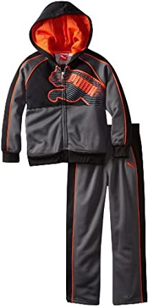 PUMA - Kids Boys 2-7 Little Logo Fleece Hooded Set, Iron Gate, 4