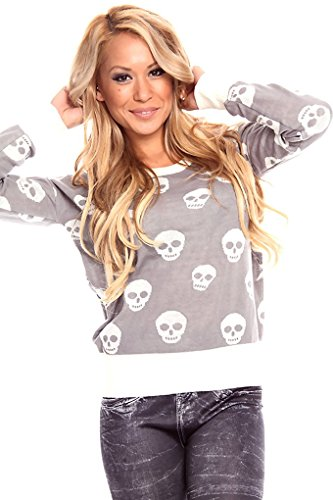 Lolli Couture SKULL PULL-OVER LONG-SLEEVE SWEATER S lightgrey