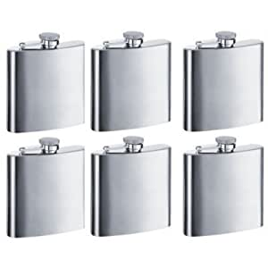 8oz Hip Stainless Flask Set of 6