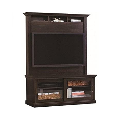 Modern Contemporary Chocolate Oak TV Stand with Hutch, for Flat Panel LCD or LED TVs up to 50 Inch