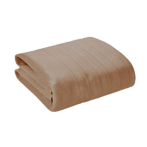 Soft Heat Wide Wale Ribbed Plush Electric Heated Blanket - Throw Size Beige