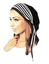 Black Pre-tied Head-scarf Soft Comfy Cotton with Jersey Stripe Wrap - 094