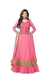 Fashion Fire Women's Pink Georgette Anarkali Suit Unstitched Dress Material