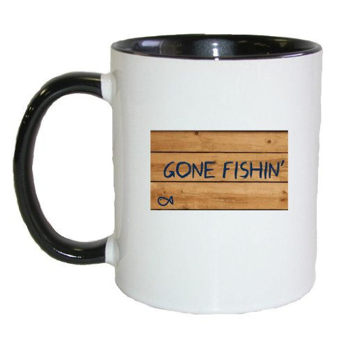 Mashed Mugs - Gone Fishin' - Coffee Cup/Tea Mug (White/Black)