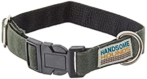Handsome Hounds Wax Cotton Dog Collar, Large, Hunter Green