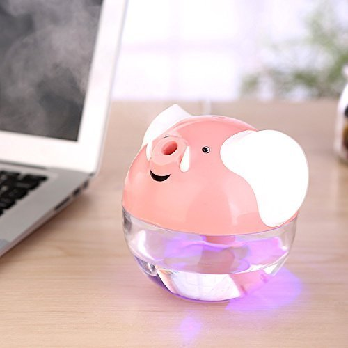 Happy-top 230Ml Lucky Elephant Shape Portable Mini Humidifier Night Lamp USB powered Air Humidifier (Pink) (Nose Humidifier compare prices)