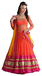 Devikrupa fashion Women's Georgette Unstitched Lehenga Choli (Orange)