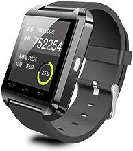 U8 - Reloj de pulsera Bluetooth para teléfonos iOS, Android, Samsung y HTC, color negro