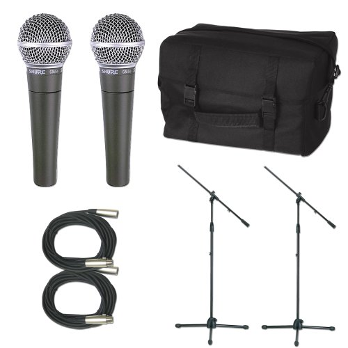 Shure 2 X Sm58 Mic Pack W/Stands Cables And Bag