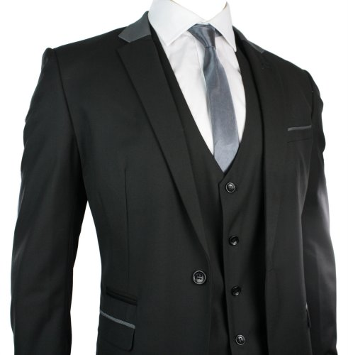 Mens Slim Fit Suit Black Grey Trim 3 Piece Work Office or Wedding Party Suit UK