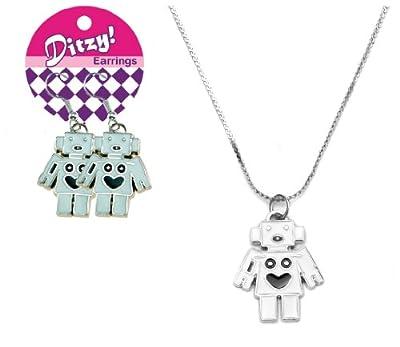 Zorbitz Ditzy Earring/Necklace Set, Robot