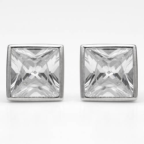 Sterling Silver 11.7 CTW Cubic Zirconia Stud Ladies Earrings. Length 9 mm. Total Item weight 3.2 g.