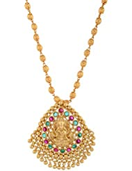 1 Gram Gold Plated Lakshmi Pandent With Ruby And Green Stone Without Chain 669