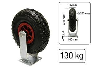 Bockrolle Luftrad 260 mm x 85 mm 3.00-4' Kunststoff-Felge mit Kunststoffgleitlager