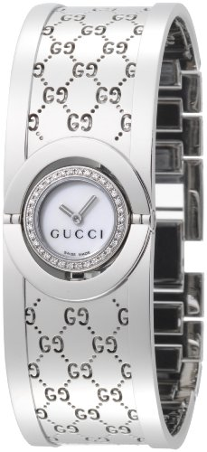 Gucci Women's YA112511 Twirl Small Steel Bangle Diamond Case Watch