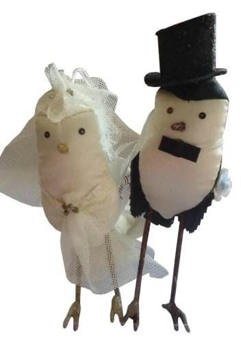 Silvestri Ann Wood Bride & Groom Birds Wedding Ornaments Cake Topper