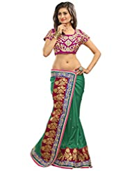Alethia Green Manipuri Silk Casual Heavy Embroidery Sarees With Unstitched Blouse
