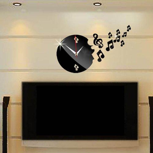 Dupin Llc (Tm) Diy 3D Modern Musical Note Modern Acrylic Clock Mirror Wall Home Decal Decor Vinyl Art Sticker (Black)