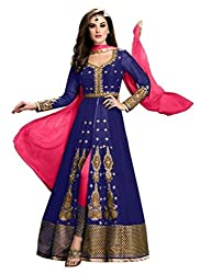 Maruti Creation Women's Georgette Semi-stitched Anarkali Suit Dress Material (MC1002_FREE_SIZE_BLUE)