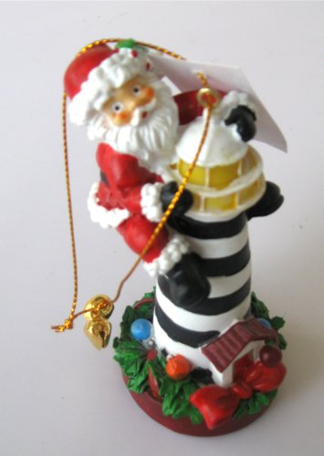 Christmas Ornament Santa on a Lighthouse