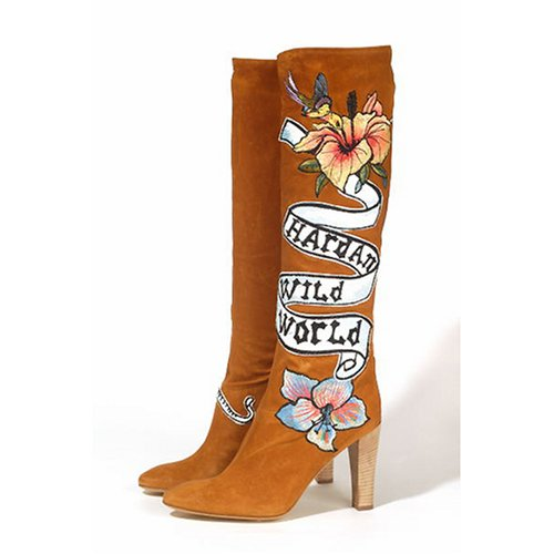 Roberto Cavalli Tan Suede & Leather Knee Length Boots with Graphics and Signature Print