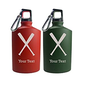 Buy Personalized Engraved Baseball Bat 17 Oz Aluminum Canteen Water Bottle for Men and... by Engraved Cases