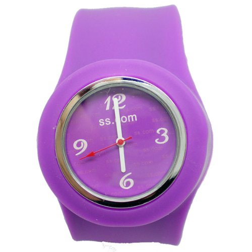BestOfferBuy Unisex Round Silicon Band Strap Slap On Watch Analog Candy Purple