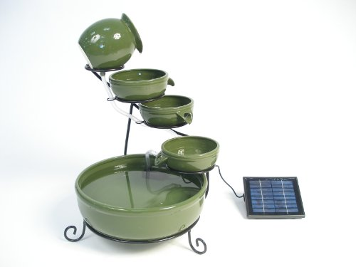 Green Ceramic Solar Cascade Water Feature with Battery Backup