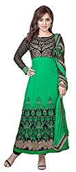 Metroz Women's Green Color Embroidered Faux Georgette Anarkali Suit with Dupatta