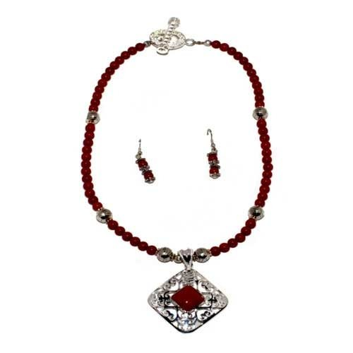 Round Red Coral Bead Necklace 19'' Long