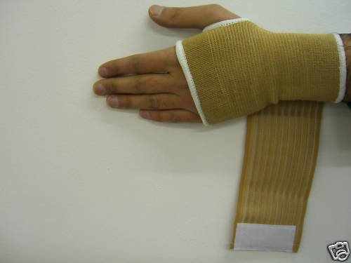 Elasticated Skin Tone Open Hand Palm Support With Adjustable Wrist Wrap