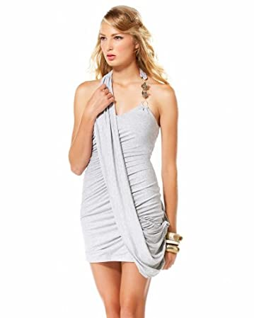 bebe Stone Beaded Draped Halter Dress