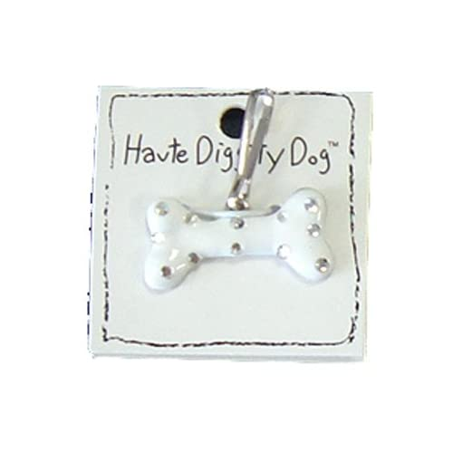 Dog Tags   Bone Dog Tag by Haute Diggity Dog   White with Silver Dots