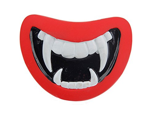 [Paws 'n' Claws ] Latex funny squeaky chew dog toy, Halloween Monster Red Mouth (Monster Mouth)