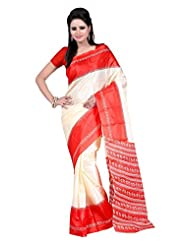 Parichay Women's Silk Saree(Cream & Red)