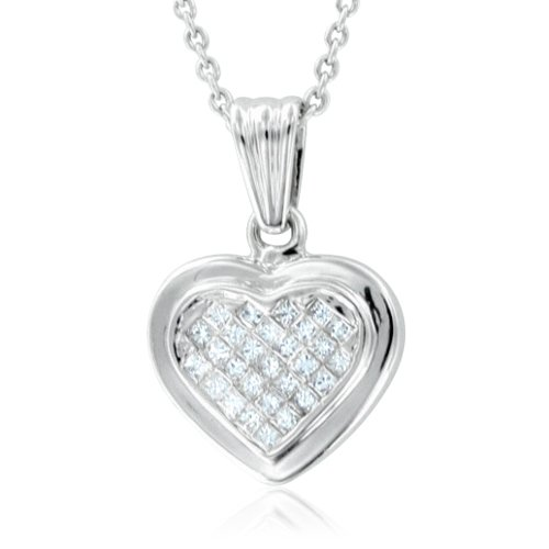 Invisible Set Princess Cut Diamond Heart Necklace in 14k White Gold (HI, SI2, 0.25 cttw)